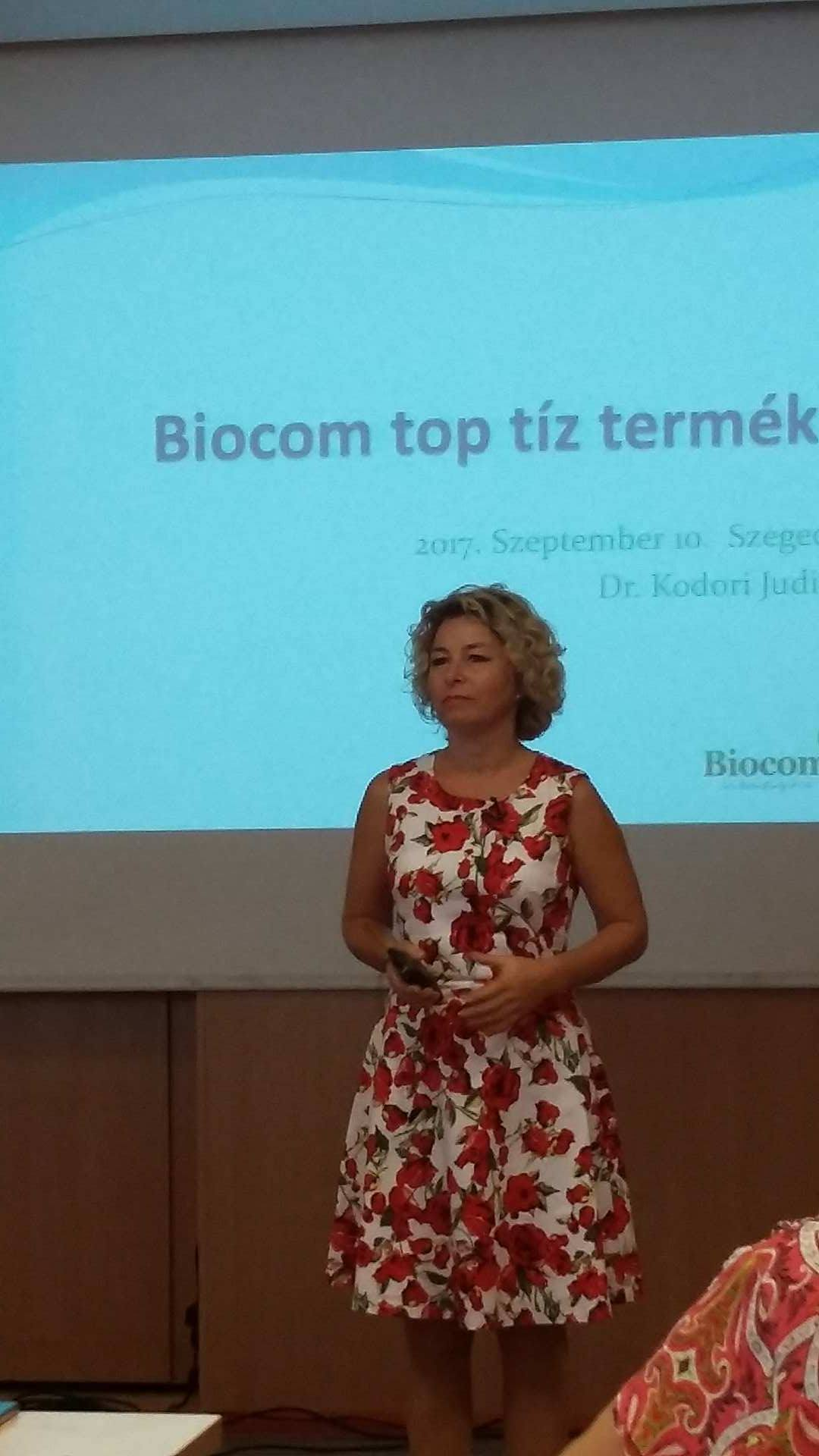 A vendégelőadó, dr. Kodori Judit a Biocom TOP 10-en keresztül világította meg a színes termékskálát
